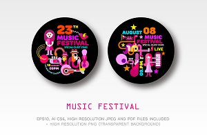 Music Festival round template design