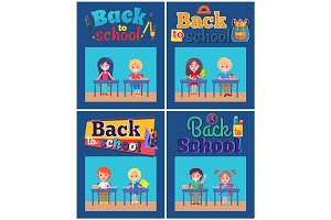 Back to School Set of Posters with Pupils at Desks