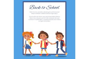 Back to School Poster with Children in Clothes