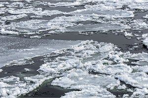 Cold chilly ice on the water