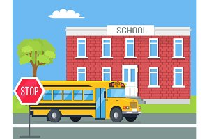 Bus Standing in Front of Brick School Illustration