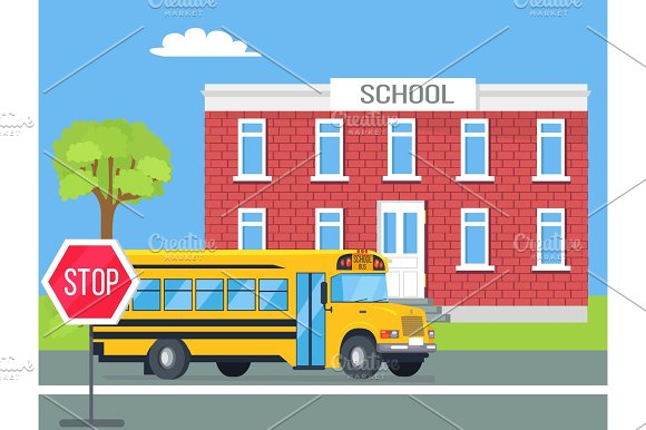 Bus Standing In Front Of Brick School Illustration