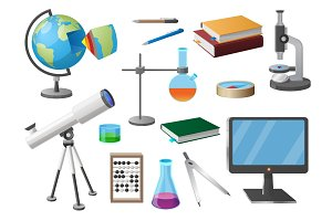 Set of Various School Objects Cartoon Illustration
