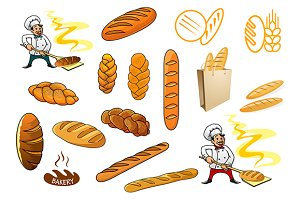 Bakers, bread and isolated baguettes