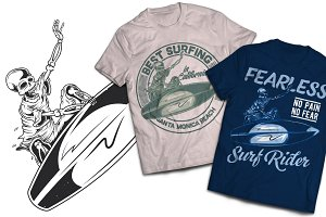 Surfing T-shirts And Poster Labels