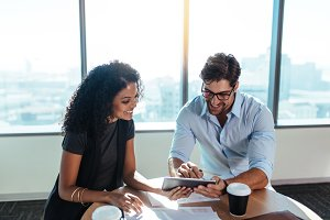 Business investors discussing