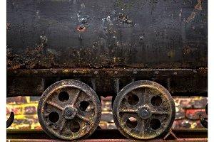 Wheels of a mine cart