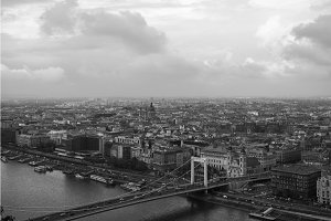 Aerial view of Budapest with Danube