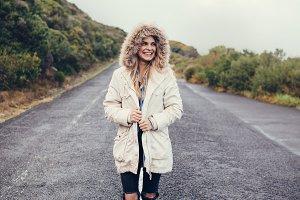 Beautiful young woman walking