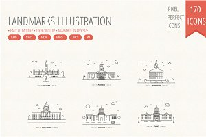 Landmarks lllustration line icons