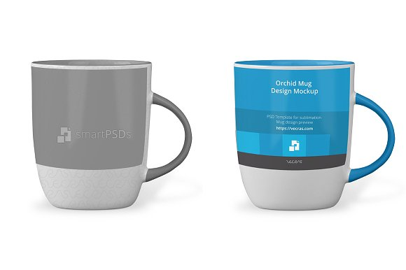 Orchid Mug Design Mockup