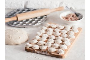 Process of making homemade pelmeni