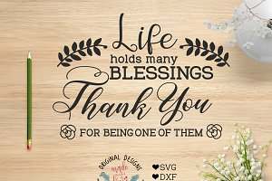 Life Holds Many Blessings Cut File