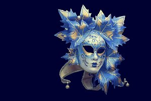 Venetian mask on blue