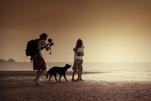 Photographing on the shore