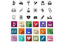 Flat medical icons set