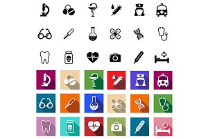 Flat medical icons set
