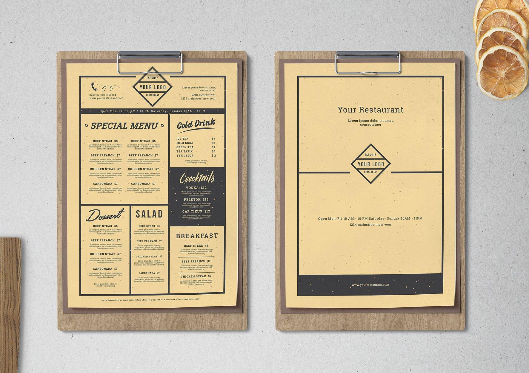vintage restaurant menu flyer templates creative market