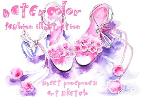 Watercolor summer shoes