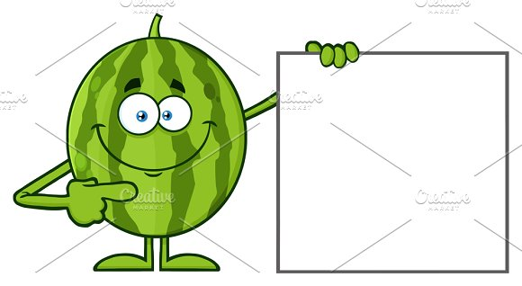 Watermelon Pointing To A Blank Sign