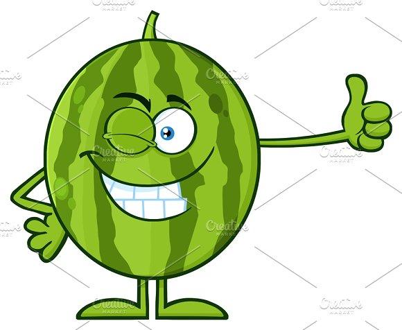 Winking Green Watermelon Fresh Fruit