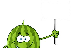 Watermelon Holding A Blank Sign