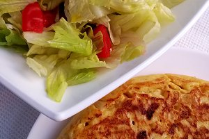 Spanish potato tortilla and salad