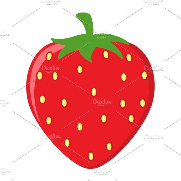 Strawberry Fruit Cartoon Flat Design