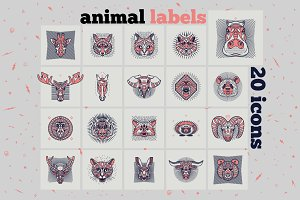 Animal Labels Set