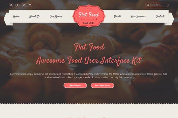 Flat Food Food UI PSD Kit