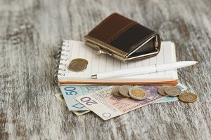Polish zloty with little wallets and notebook on the wooden background