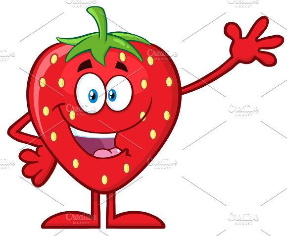 Strawberry Fruit Waving For Greeting