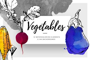 Ink Watercolour Vegetables