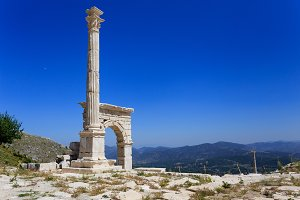 Marble arch and column at ancient city of Sagalassos
