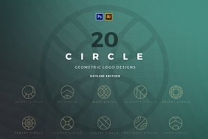 20 Circle geometric logos - outline