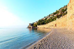Seascape with Alanya castle wall