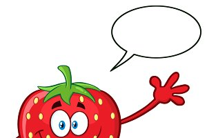Strawberry Fruit With Speech Bubble