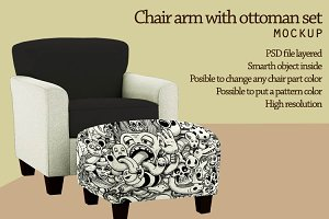 Chair arm with ottoman mockup