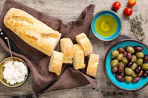 Ingredients for making bruschetta