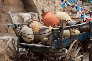 Cart with clay pots in Cappadocia