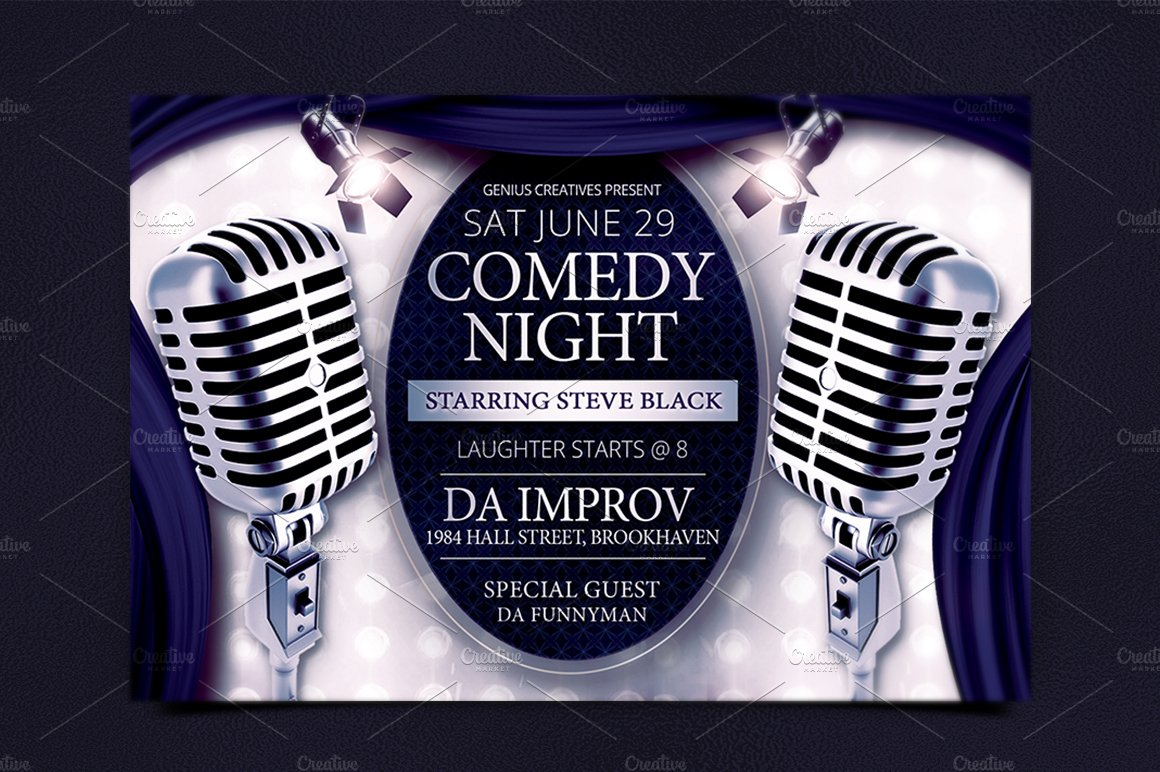 Comedy Night Show Flyer Template ~ Flyer Templates ~ Creative Market