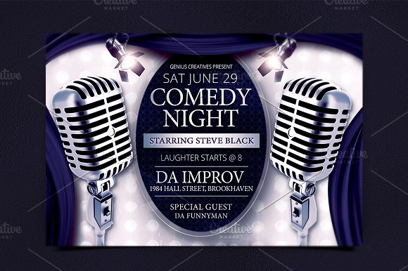 Comedy Show Flyer Template | Comedy Night Show Flyer Template Flyer Templates Creative Market
