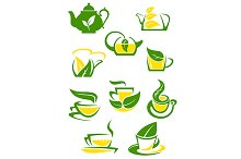 Herbal and lemon tea cup icons