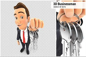 3D Businessman Bunch of Keys
