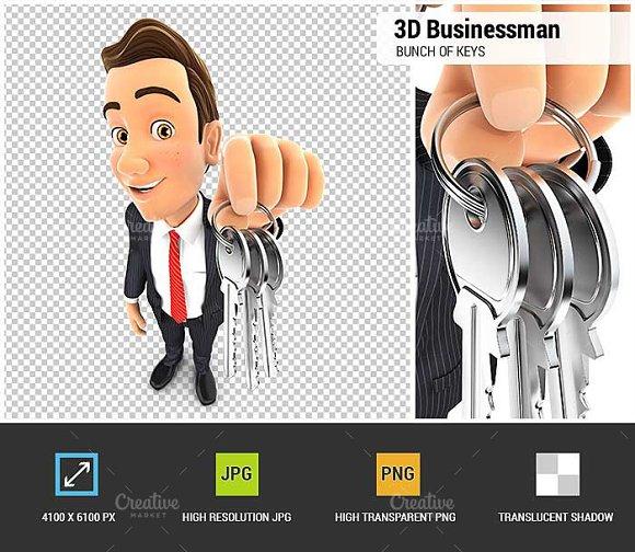 3D Businessman Bunch Of Keys