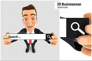 3D Businessman Search Bar