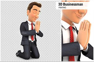3D Businessman on his Knees Praying