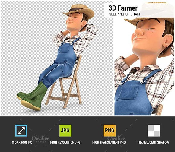 3D Farmer Sleeping On Chair