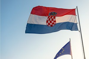 Flag of Croatia and the european union