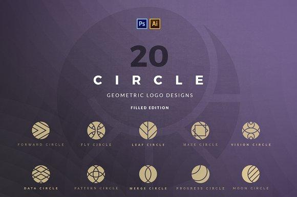 20 Circle geometric logos - filled